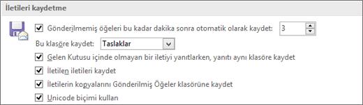Office 2010 Gönderilmiş e-posta iletilerinin kaydedildiği yeri değiştirme